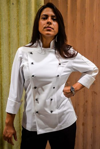 Plain Jayne Female Chef Jacket – White Long Sleeve