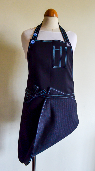 The 3 Way Apron –  Black – Grey & Blue stitch