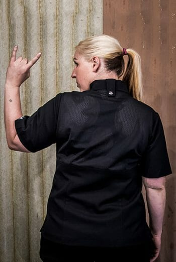 womens mesh black chef jacket
