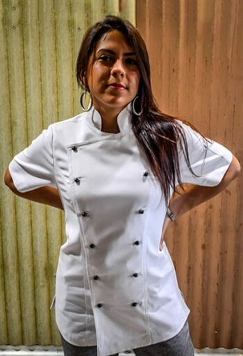 The Plain Jayne – White Short Sleeve Women's Chef Jacket