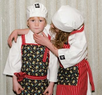 childs apron red