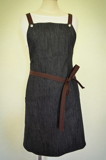 Brown & denim apron