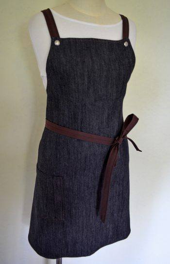 Denim & Brown CrissxCross Strap Apron