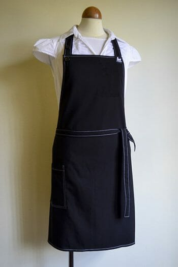 White Stitched Black Apron