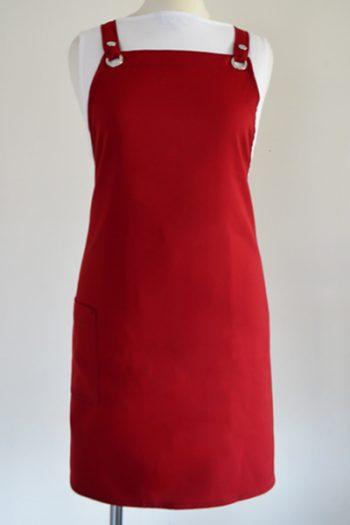 Rustic red criss cross strap apron